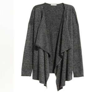 H&M Dark Grey Marl Fine-Knit Draped Cardigan
